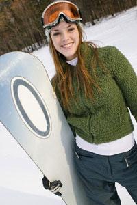 девушка со сноубордом